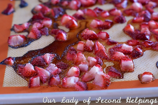Roast strawberries for baking it concentrates the flavor and reduces the liquid. | Our Lady of Second Helpings