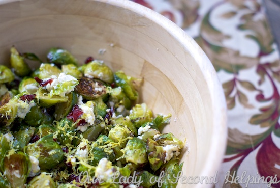 Roasted Brussels Sprouts with Cranberries and Gorgonzola Cheese | Our Lady of Second Helpings